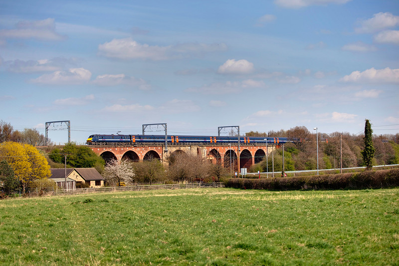 91132 propelling the 13:40 Leeds to London Kings Cross service over Shay Lane Viaduct at Crofton on April 22nd 2010.