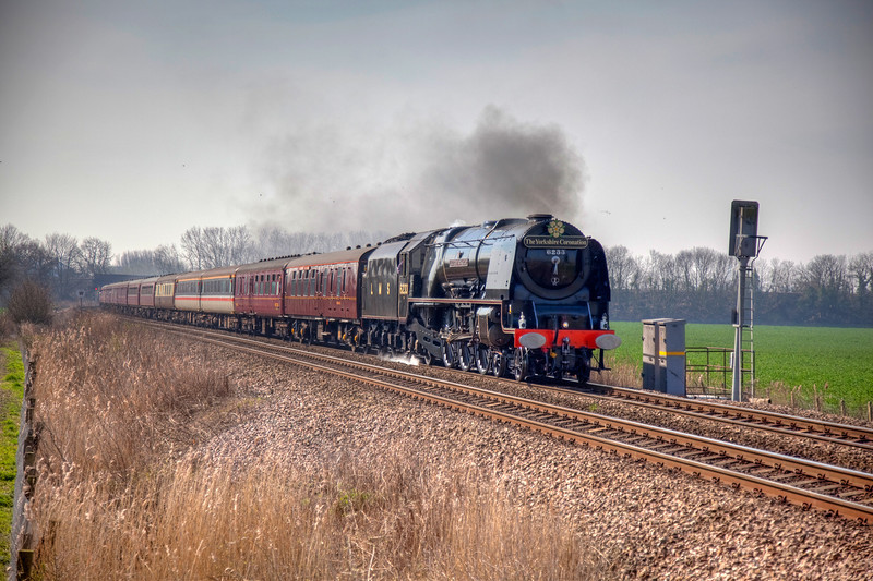 """6233 seen restarting a 1Z41 Leicester to Scarborough """"Yorkshire Coronation"""" railtour from Milford Junction on April 10th 2010."""