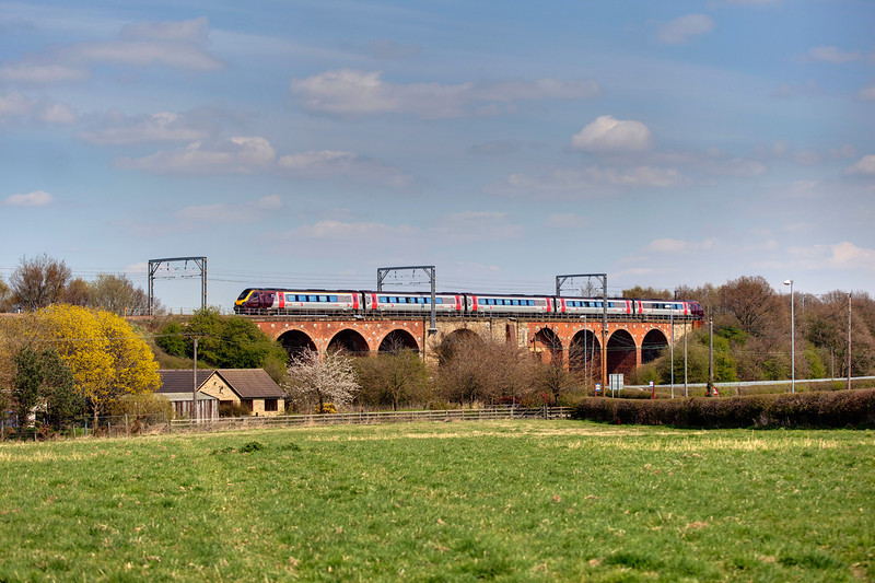 An unidentified XC trains 221 crosses the attractive Shay Lane Viaduct at Crofton with the 06:28 Penzance to Edinburgh on April 22nd 2010