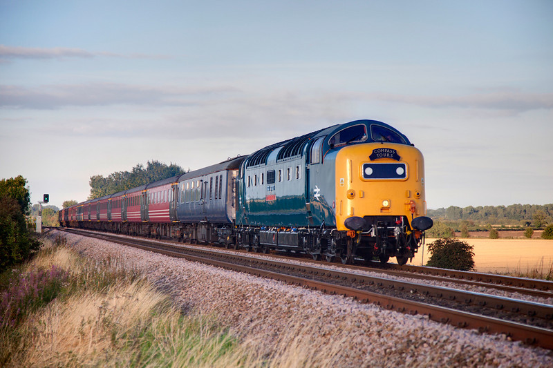 55022 is pictured passing Barkston Ash  with a 1Z46 Newcastle to Crewe return rsiltour on August 30th 2010.