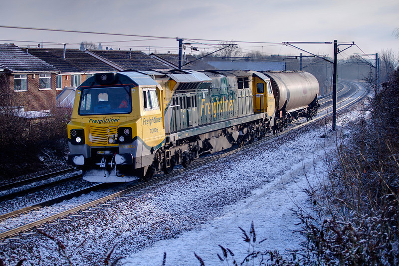 """Thunderbirds are Go!  70005 is seen at Wrenthorpe with a 6Z70 Derby to NL on 22nd December 2010.  The """"Fugly"""" had been despatched earlier in the day with a tank of fuel after the Midlands depot were running on fumes!"""