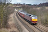 47804 is seen from Howley Park Footbridge, Batley in charge of a 5Z36 12:50 Doncaster to Carnforth ECS (47786 on rear) on February 4th 2010.