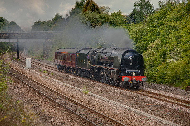 6233 is seen passing through Horbury Cutting enroute to the NRM on May 20th 2010.
