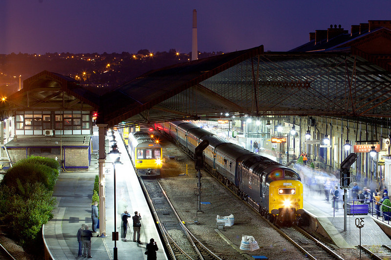 """Memories of the Pennine Deltics from my early teens!  55022 awaits time at Huddersfield with the return leg of Retro Railtours """"Retro Scot II"""" a 17:03 Edinburgh to Sheffield on May 31st 2010"""