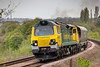 70006 rolls off Union Mills Viaduct Batley with a 6Z70 11:20 Midland Road to Crewe Basford Hall wagon trip on May 2nd 2010.