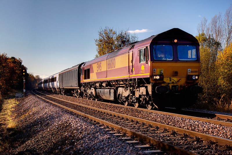 66080 passing Kirkthorpe with a 5Z42 Doncaster to Heaton stock transfer on November 10th 2010
