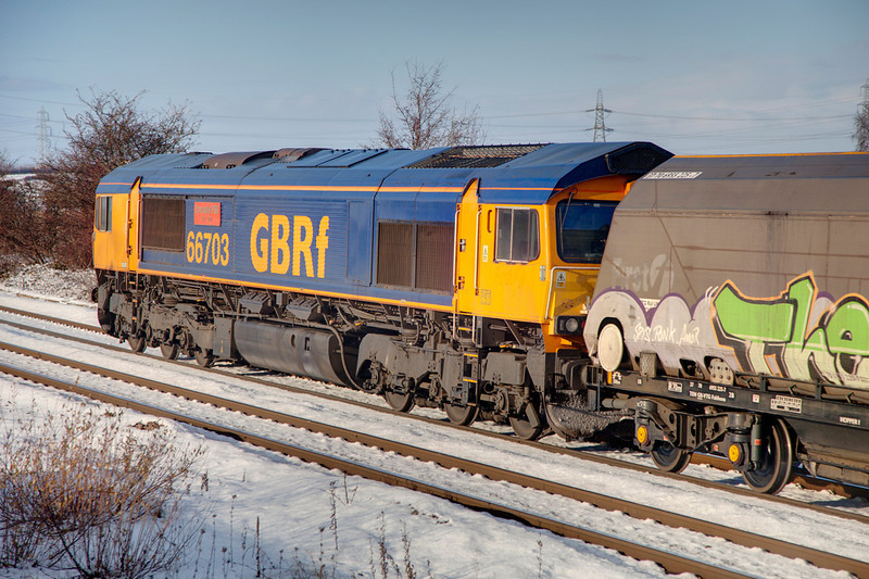 66703 on rear of 6H93 Tyne Dock to Drax at Whitley Bridge on November 30th 2010.