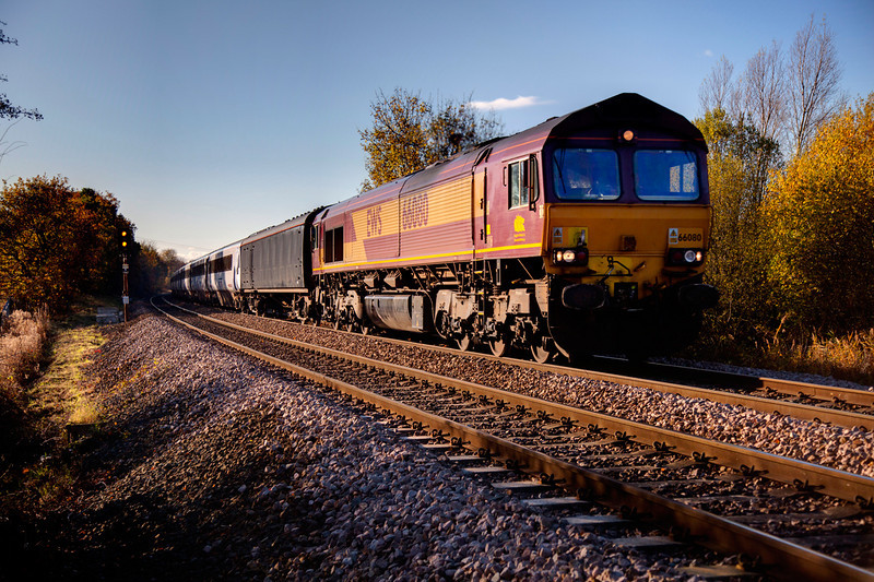 66080 passing Kirkthorpe with a 5Z42 Doncaster to Heaton stock transfer on November 1oth 2010.