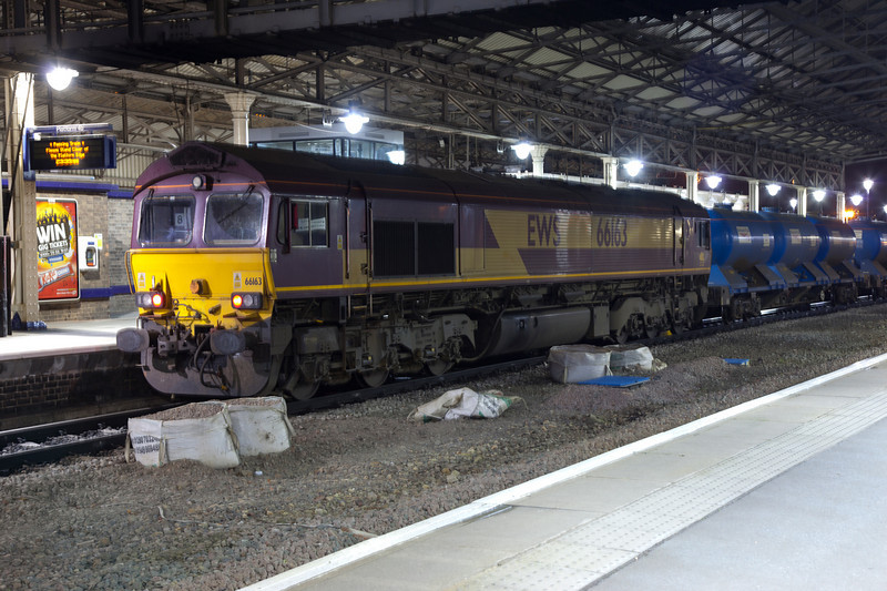 66163 stands at Huddersfield on the rear of a 3S23 22:45 Hall Royd Junction to Ilkley RHTT on October 20th 2010