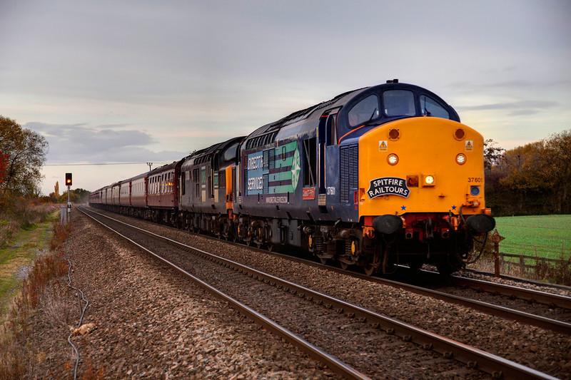 37601+37038 head south past Little Fenton with a 1Z38 Saltburn to Taunton railtour on October 30th 2010