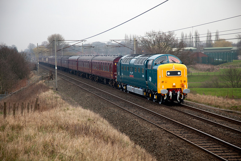 55022 passing Redbank in the dull while working a 1Z25 09:05 Preston to London Euston on Friday March 4th 2011