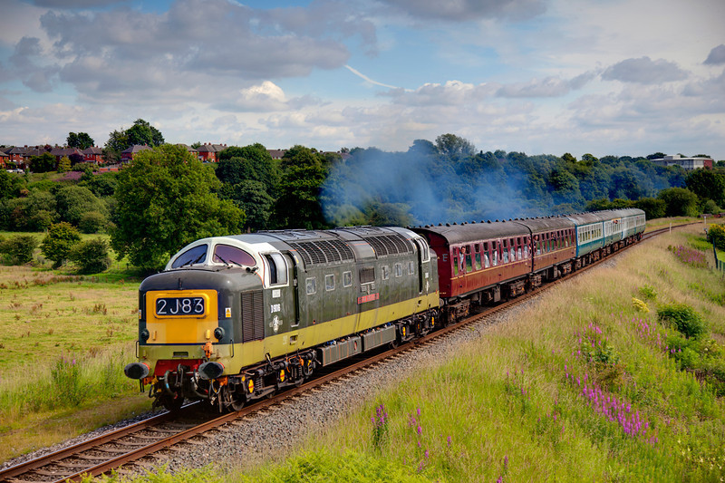 Mr Walker at the controls, D9016 humms through Burrs with a 2J83 15:30 Bury to Rawtenstall on July 1st, 2011