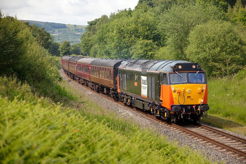 50135 (aka 50035 :-)) dub dubs through Burrs Cutting with a 2J78 14:26 Rawtenstall to Bury on July 1st 2011.