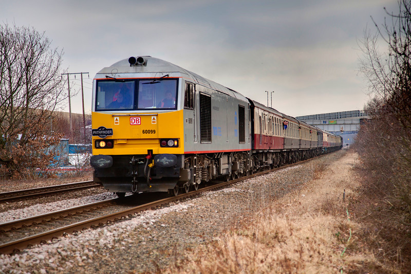 """60099 passing Orgreave with a 1Z27 Bristol to Deepcar """"River Don Rambler"""" on 29th January 2011"""