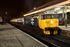 """The shots from the concourse end of the station were more of a challenge as we had to compete with the """"normals"""" using the pub on the station who were smoking on the platform and wandering to and from the toilets. 50015 re-creates a WR Class 2 working of the mid 1980s at Bury on an EMRPS charter January 29th 2011."""