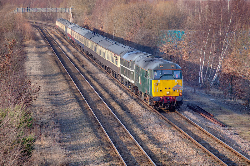 """31601+31190 passing Orgeave with a 1Z27 Bristol to Deepcar """"River Don Rambler"""" for Pathfinder Railtours on Saturday 29th January 2011"""