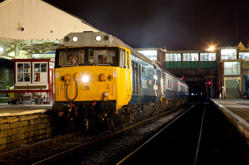 A powerful crop of 50015 at Bury on an EMRPS Photo Charter at Bury January 29th 2011.