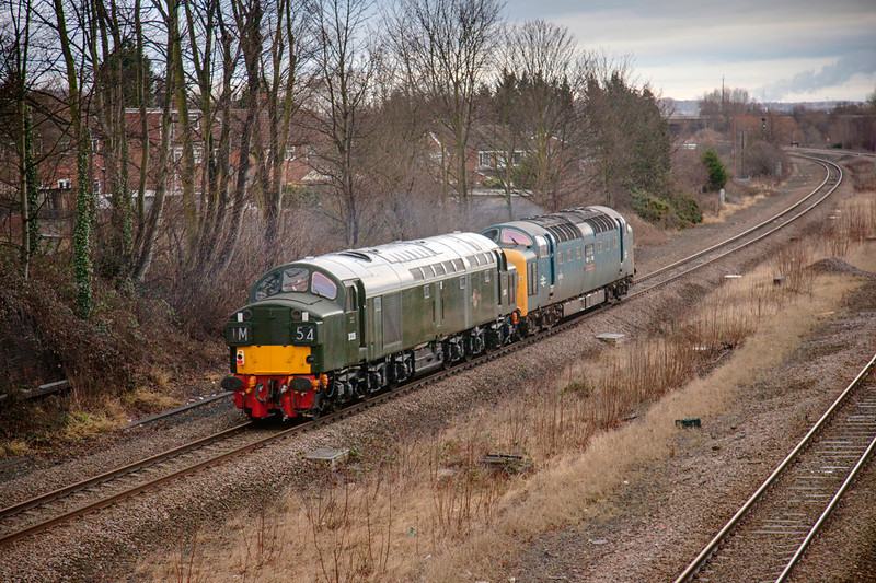 D335 trailing a 5Z55 Castleton to Barrow Hill heads toward Horbury Junction at Forge Lane Horbury January 11th 2011.