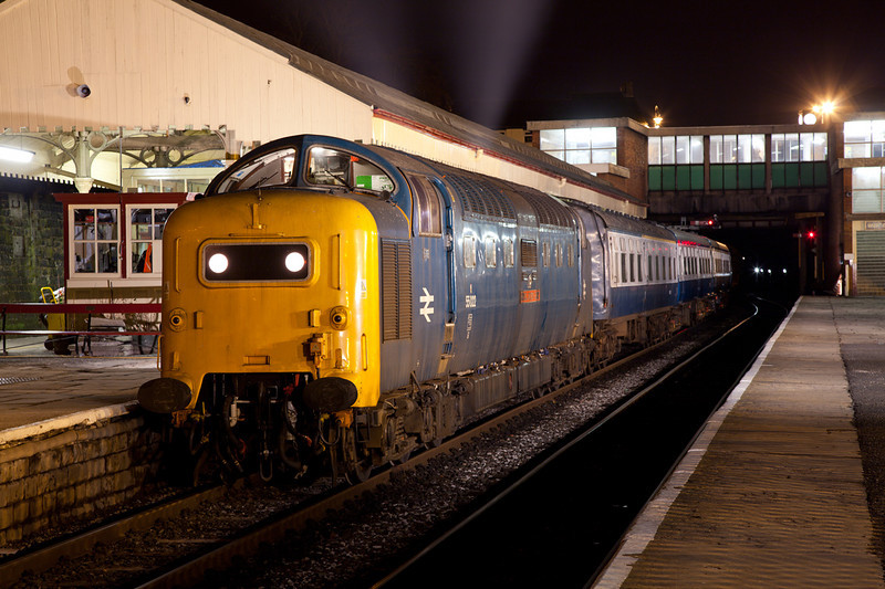 "Deltic ""Retro"". 55022 stands at Bury with a late 1970/80s cameo on an EMRPS Photo Charter on January 29th 2011.  I have removed the high intensity headlight from this shot."