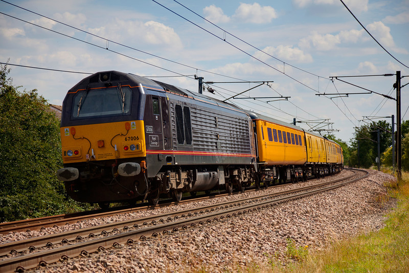 67006 brings up the rear of a 1Q18 08:26 Doncaster to Derby past Wrenthorpe on July 15th 2011
