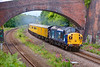 37087 growls under the bridge at Addingford Lane, with 37194 providing audible support from the rear, as they enter Horbury Cutting with a 2Q88 05:41 Derby RTC to Doncaster test train on June 13th 2011.