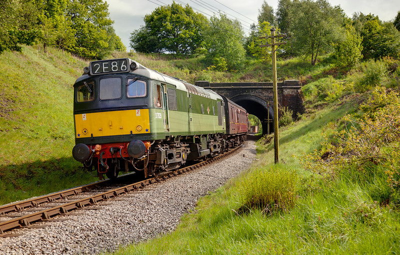 "The only ""full sun"" shot of the day for me, the GCR's D7629 is seen ""p-tanging"" out of the Northern portal of Mytholmes Tunnel with the 15:20 Oxenhope to Keighley on May 20th 2011."