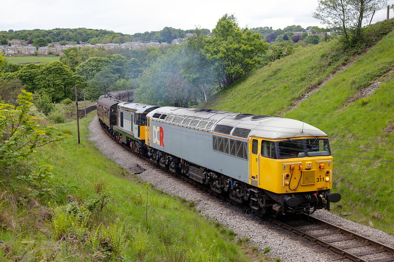 56311 + 20031 about to enter Mytholmes Tunnel in charge of the 10:30 Keighley to Oxenhope on May 20th 2011
