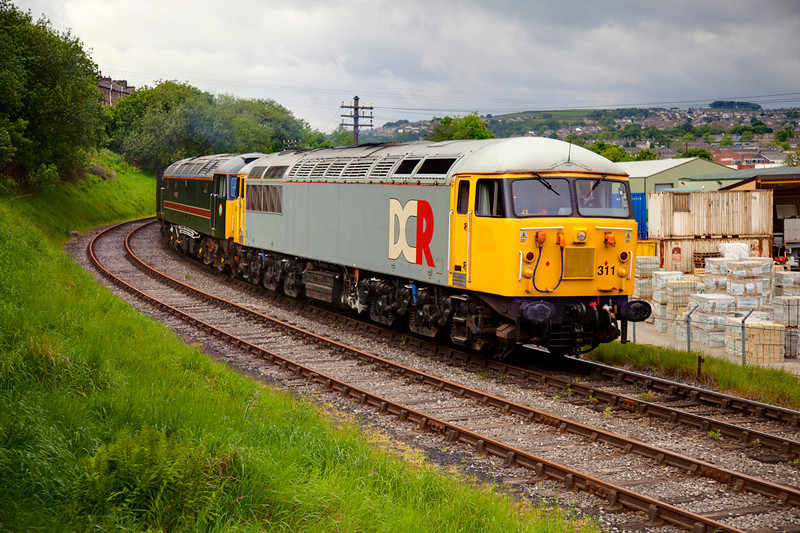 56311 and 47715 roll down the hill into Keighley with the 09:00 Oxenhope to Keighley on May 20th 2011