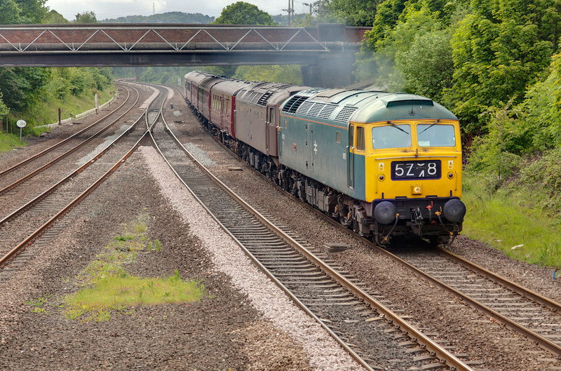 "47270 pictured passing L&NWRly Junction at Ravensthorpe with 47786 d.i.t while working a 1Z38 13:19 Manchester Victoria to Edinburgh WCRC ""stag-ex"" on May 14th 2011.  The stock had left Carnforth with the ECS and Manchester with the train in the usual top 'n' tailed formation, but after 47786 expired en route 47270 pushed the train into loop and run round to top the train. The train was running two hours late when i captured this shot."