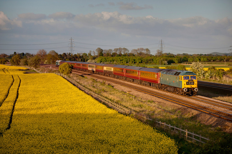 47270 speeds past Burton Salmon, the crew seemingly oblivious to the TSR currently in force, with a 1Z20 16:13 Carlisle to Southport, the return leg of a Compass Tours charter on May 2nd 2011. 47580 can be seen DOR