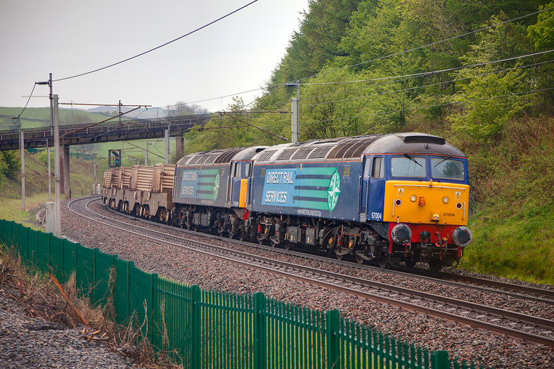 57004+57009 at Beck Foot with a diverted 6C53 Crewe to Sellafield flask train, on this occasion comprising 6 flasks on May 6th, 2011.