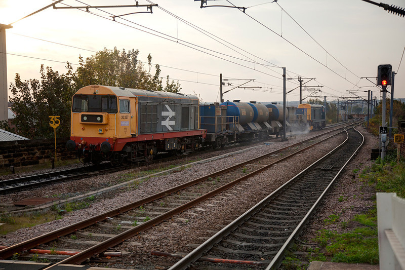 20227 brings up the rear of a 3S13 08:48 Wrenthorpe to Grimsby Town RHTT as it departs Wakefield Westgate on October 24th 2011.
