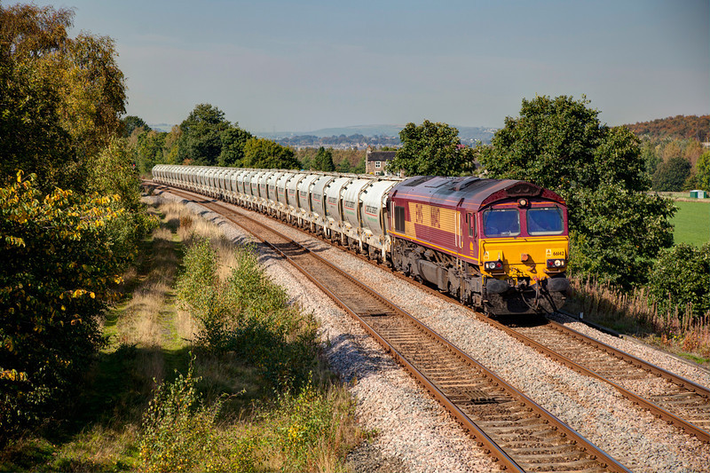 66142 is seen at Bradley Wood Junction with the delayed 6F70 Clitheroe to St Pancras cement on September 30th 2011