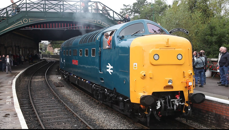 55002 starting up at Pickering in preperation to work the 12:00 Pickering to Whitby September 16th 2011