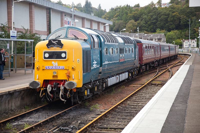 55022 shortly after arrival at Oban with a 1Z47 04:20 Crewe to Oban on September 14th 2011