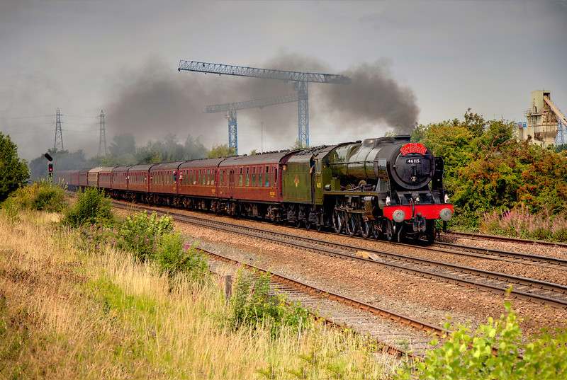 46115 Scots Guardsman passing Stourton with the 1Z22 10:15 York to Scarborough outbound Scarborough Spa Express on AUgust 3rd 2011