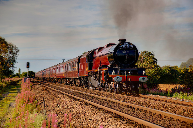 """6201 Princess Elizabeth is seen bathed in glorious early evening Golden sunshine passing Little Fenton with a 1Z69 16:55 Scarborough to Crewe return """"Scarborough Flyer"""" on August 5th 2011"""