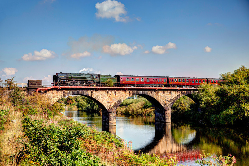 70013 Oliver Cromwell crosses the River Calder at Wakefield with the first circuit of the Last Scarborough Spa Express of the 2011 season on September 1st 2011