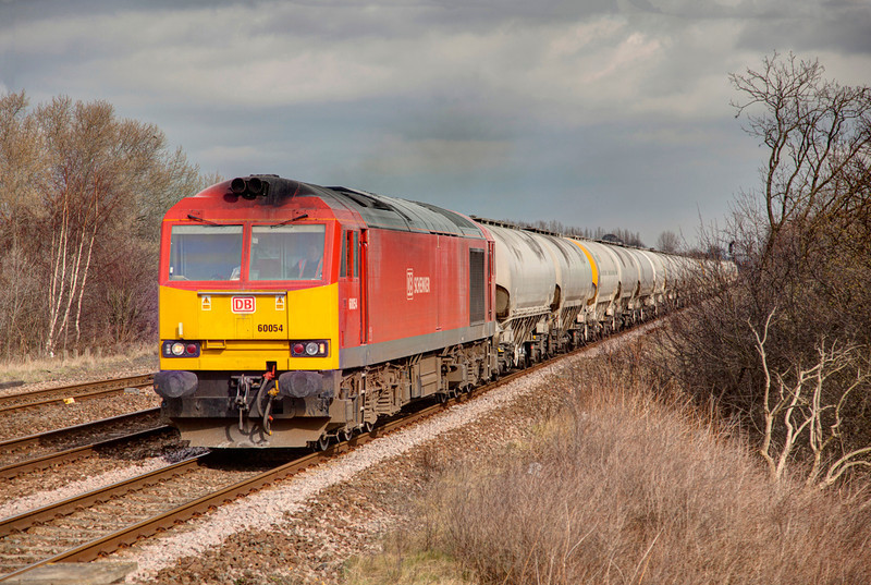 60054 rolls toward Horbury Junction with a 6M22 Hunslet East to Tunstead empty bogie cement on March 9th 2012