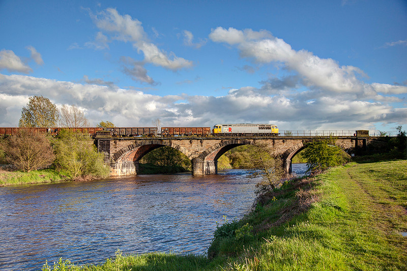56311 crosses the River Calder approaching Wakefield with a 6Z56 17:44 Shipley to Cardiff Steel train on 10th May 2012.