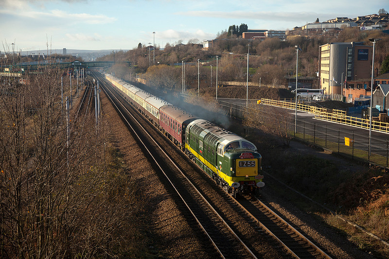 D9009 'Alycidon' passing Meadowhall with a 1Z55 Crewe to Carlisle, the outward leg of a DPS/Pathfinder railtours charter on 28/12/2013