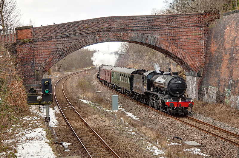 "61994 ""The Great Marquess"" passes under the bridge at Addingford Lane in Horbury Cutting leading (62005 on the rear) a top 'n' tailed 5Z62 11:00 Castleton (ELR) to York NRM about 15 early on Good Friday 29th March 2013."