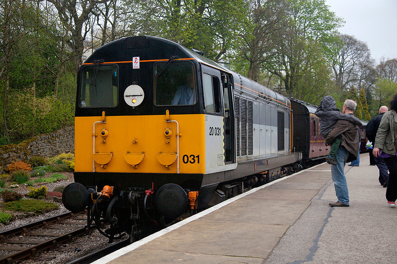 20031 at Oxenhope after arriving with the 14:00 Keighley to Oxenhope on 28th April 2014