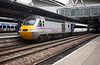 43314 stands at Lees ready to depart with the 1A31 1305 Leeds to Kings Cross 27th April 2014