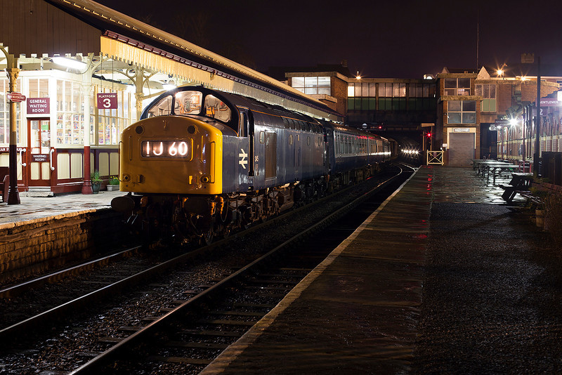 345 posed under the station canopy at Bury (prior to being lit and shot using only the available light) during an Ian Furness/CFPS organised private photo charter on 21st March 2014.<br /> <br /> This is how us 'old enough' remember the Whistlers at night! (admittedly in my case with TOPS numbering!)  :-)