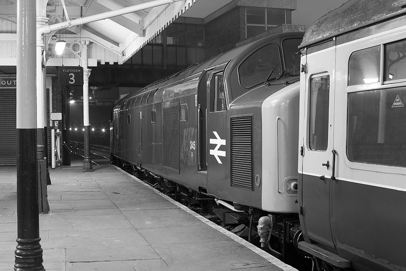 345 stands awaiting the 'right away' from Hebden Bridge with a diverted Newcastle to Liverpool in the mid 1970's......<br /> <br /> Well actually at Bury on the ELR during an Ian Furness/CFPS organised photo charter on 21st March 2014