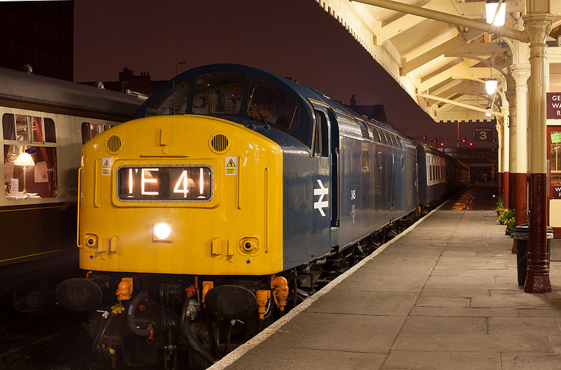 """345 idles in Bury station awaiting departure of the """"Red Rose"""" dining charter on 21st March 2012"""