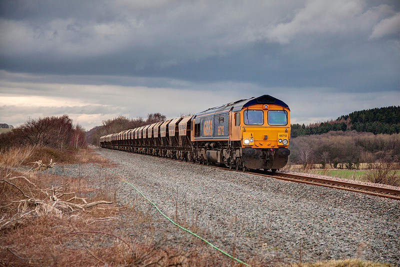 """66713 """"Forest City"""" passing Cold Hiendley with the last couple of miles to Monk Bretton with the 08:20 ex Middelton Towers on 18th February 2014"""