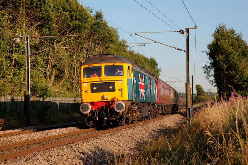 You gotta love the Kettle Ban :-)<br /> <br /> 47580 passing Tingley vice a Teapot with a 1T39 17:00 Scarborough to York SSE on 23rd July 2014