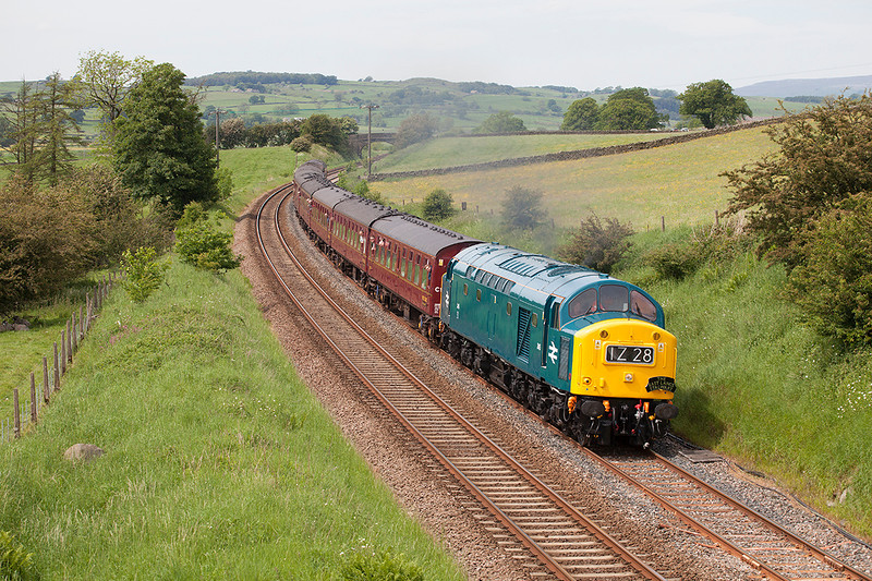 40145 applies the power at Long Preston with a 1Z28 13:14 Carnforth to Castleton GF on 6th June 2014